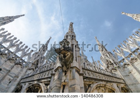Details of the Duomo di Milano in Milan, Italy - stock photo
