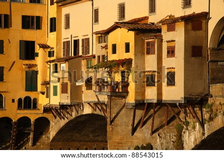 Details of the famous Old Bridge in Florence (Ponte Vecchio, Italy). - stock photo