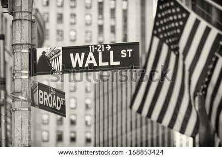 Details of the famous Wall Street in New York city, USA. - stock photo