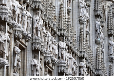 Details of the Gothic Statues in the Grand Place, Belgium - stock photo