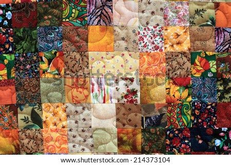 Details of the homemade patchwork as background - stock photo
