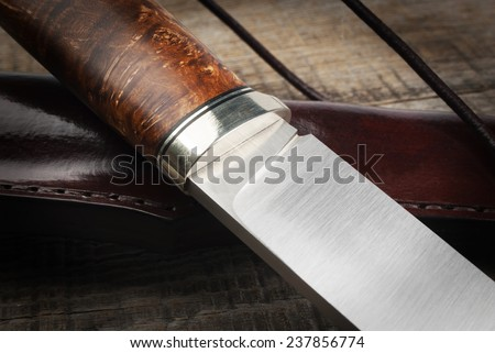 details of the hunting knife - stock photo