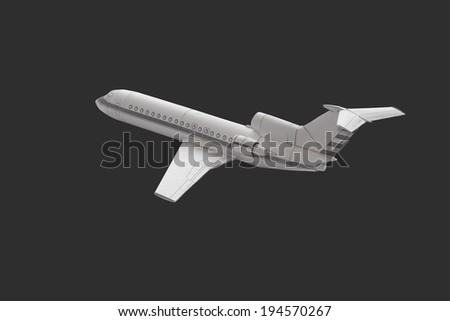 Details of the model airplane paper isolated on a dark gray background.