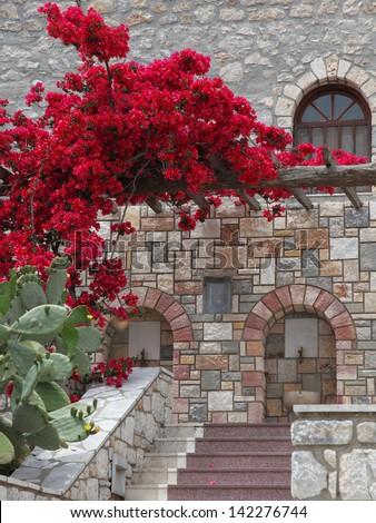 details of the monastery Savvas on the island of Kalymnos - stock photo