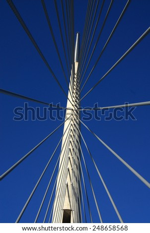 details of the new cable-stayed bridge over Sava river, central tower - stock photo