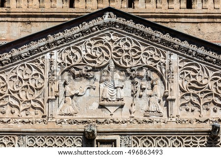 Details Of The Palermo Cathedrals Portico Carved In Gothic Catalan Style