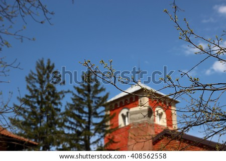 Details of the Serbian Orthodox Church. Zica Monastery, located in the town of Kraljevo in Serbia. Monastery which is crowned seven kings - stock photo
