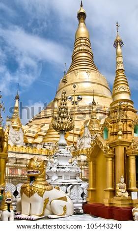 Details of the Shwedagon Paya, in Yangon, Myanmar (or Burma) - stock photo