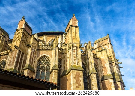 Details of the St. Etienne cathedral in Toulouse - France - stock photo