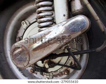 Details of the wheel, which are coated with rust - stock photo