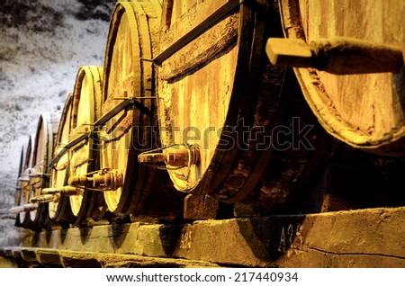 Details of very old wine barrels - stock photo