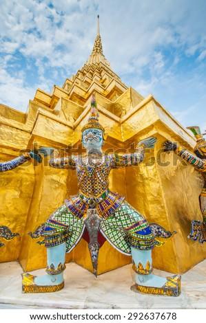 Details of Wat Phra Kaew, Temple of the Emerald Buddha, Bangkok, Thailand. - stock photo