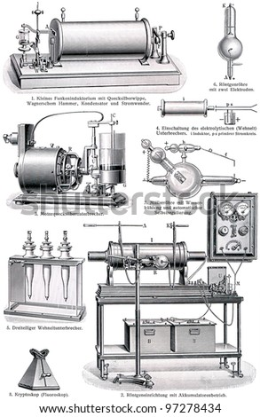 "Details of X-ray machine. Publication of the book ""Meyers Konversations-Lexikon"", Volume 7, Leipzig, Germany, 1910 - stock photo"