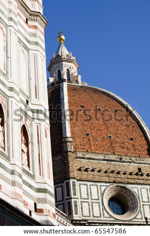 Details on a cathedral in Florence Italy Santa Maria del Fiore Cupola of Brunelleschi