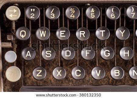 Details on antique typewriter. Vintage and retro