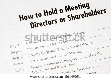 Details on how to hold a business meeting