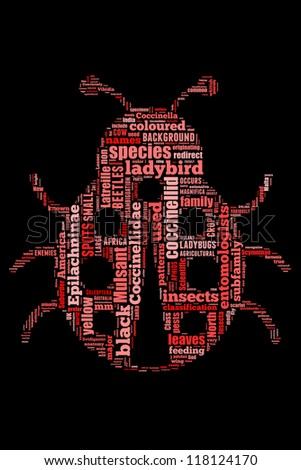 Details on ladybug in word collage - stock photo
