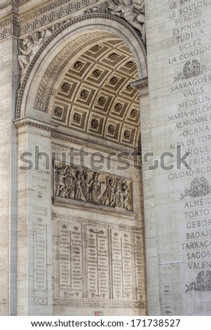 Details the Arc de Triomphe - Paris, France.