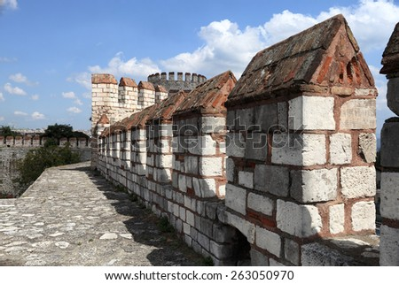 Details wall of Yedikule Fortress in Istanbul - stock photo