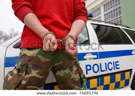 detainee handcuffed man - stock photo