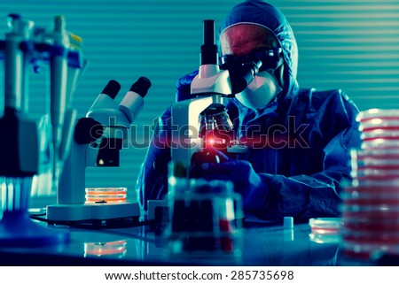 Detection of the pathogen coronavirus (Coronaviridae, Middle East Respiratory Syndrome) infection in the microbiology laboratory. Testing Nasopharyngeal aspirate - stock photo
