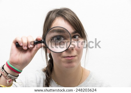 detective woman on a white background