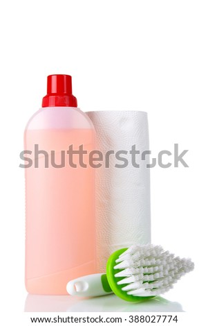 detergent and brush with napkins on white background isolated - stock photo