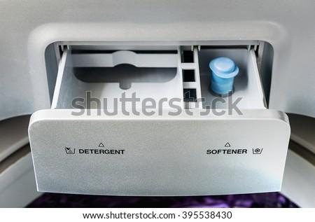 detergent and softener box washing machine for washing - stock photo