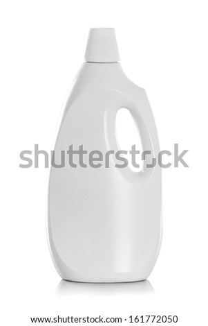 Detergent Bottle or cleaning product packaging isolated on white - stock photo