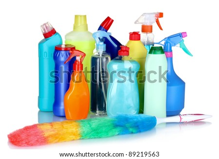 detergent bottles and brush isolated on white
