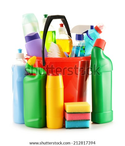 Detergent bottles isolated on white. Chemical cleaning supplies isolated on white - stock photo