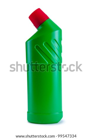 Detergent green bottle. Cleaning products. Isolated on white background - stock photo