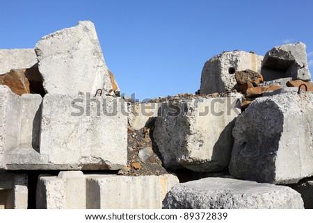Deteriorating concrete block - stock photo