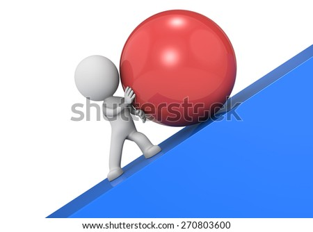 Determination. The dude 3D character, a large red ball and a steep slope. - stock photo