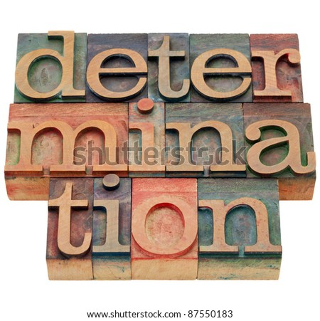 determination word - isolated abstract in vintage wood letterpress printing blocks