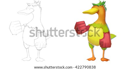 Determined Peacock Duck Creature. Coloring Book, Outline Sketch, Monster Mascot Character Design isolated on White Background  - stock photo