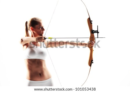 determined young woman archer underwear isolated on white background - stock photo