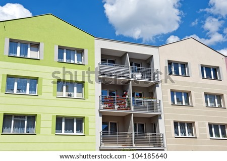 Detils of the residential building in contemporary architecture style. - stock photo