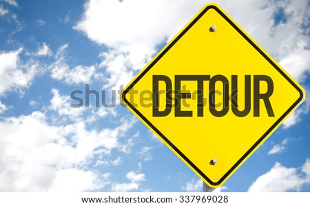 Detour sign with sky background - stock photo