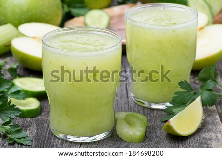 detox cocktail of green apple, celery and lime, horizontal
