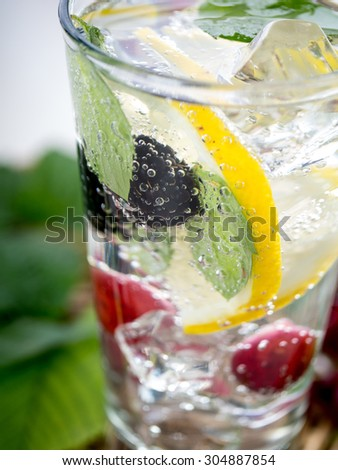 Detox fizzy drink with lemon and fresh berries - stock photo