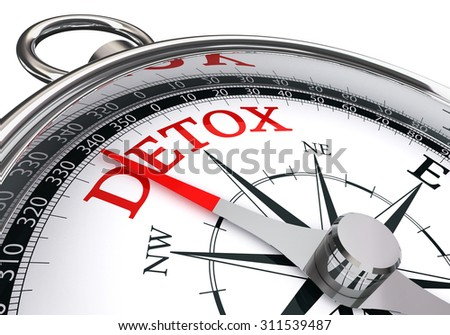 detox red word on conceptual compass, isolated on white background