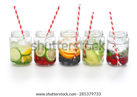 detox water on white background, cleanse body and burn fat