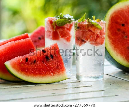 Detox water with watermelon and mint - stock photo