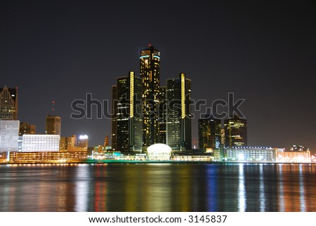 Detroit at night - stock photo