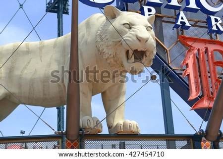 DETROIT, CIRCA MAY 2016. Marked by its signature tiger statues, Comerica Park is a baseball park which was part of the revitalization of Detroit and replaced Tiger Stadium in 2000. - stock photo