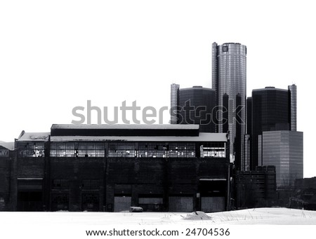 Detroit from Rivertown - stock photo