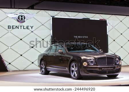 DETROIT - JANUARY 13: A Bentley Mulsanne on display January 13th, 2015 at the 2015 North American International Auto Show in Detroit, Michigan. - stock photo