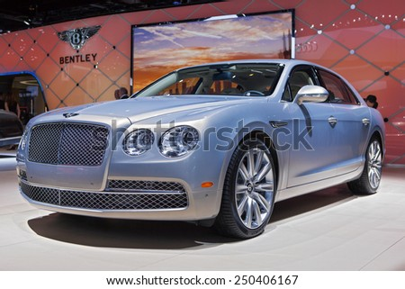 DETROIT - JANUARY 12: A Bentley on display January 12th, 2015 at the 2015 North American International Auto Show in Detroit, Michigan.