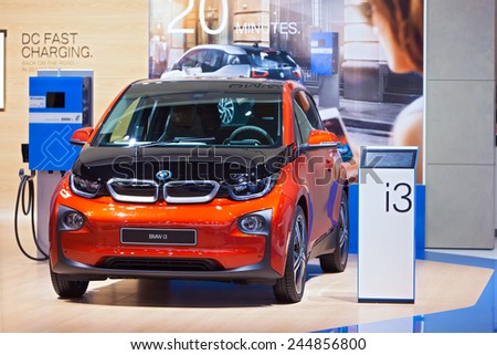 DETROIT - JANUARY 15: A BMW i3 Electric vehicle on display January 15th, 2015 at the 2015 North American International Auto Show in Detroit, Michigan. - stock photo